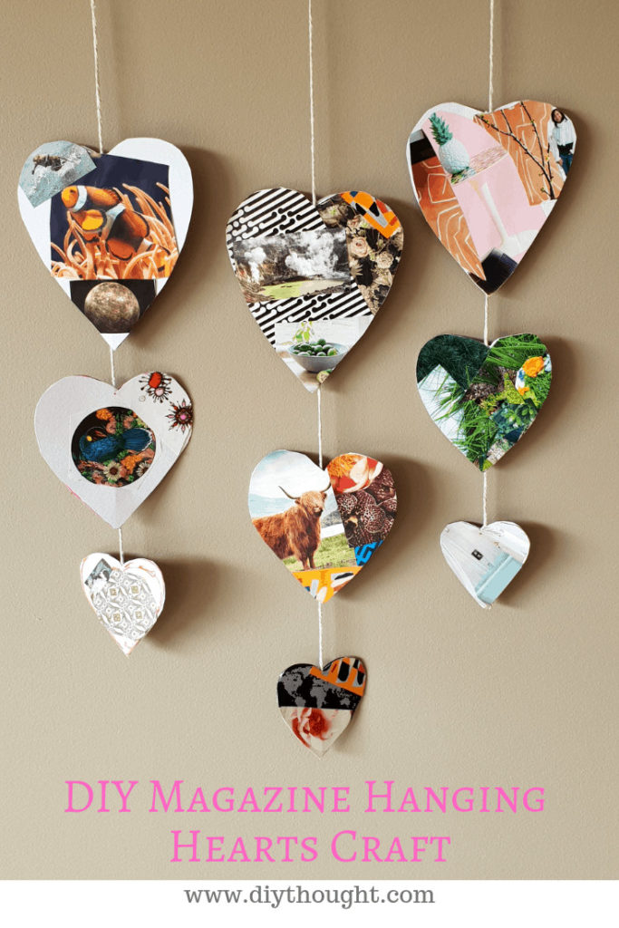 magazine hanging hearts craft
