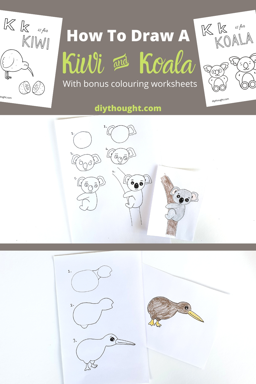 how to draw kiwi and koala