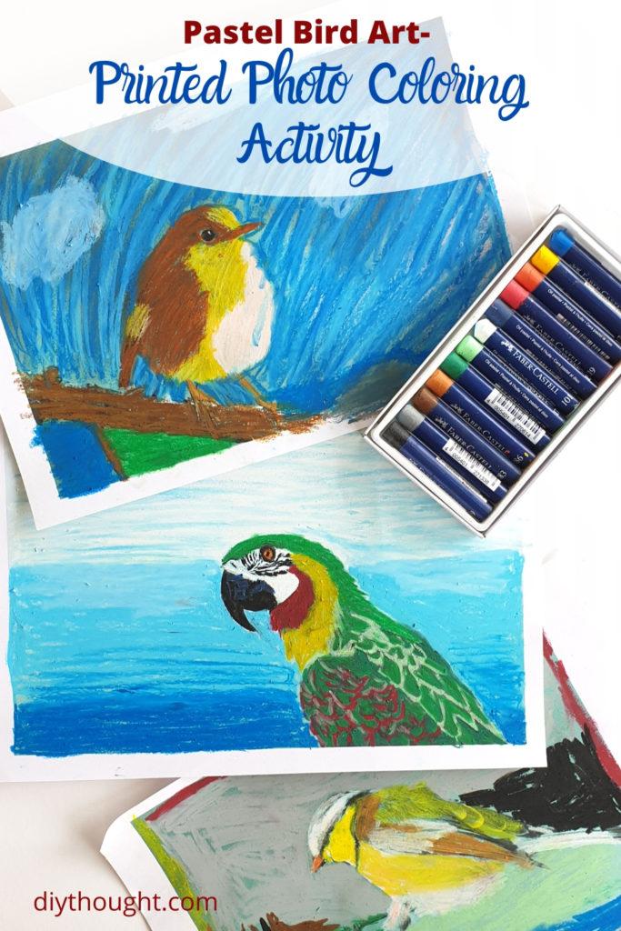 pastel bird art over a printed photo