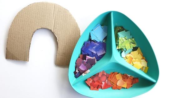 Rainbow collage supplies