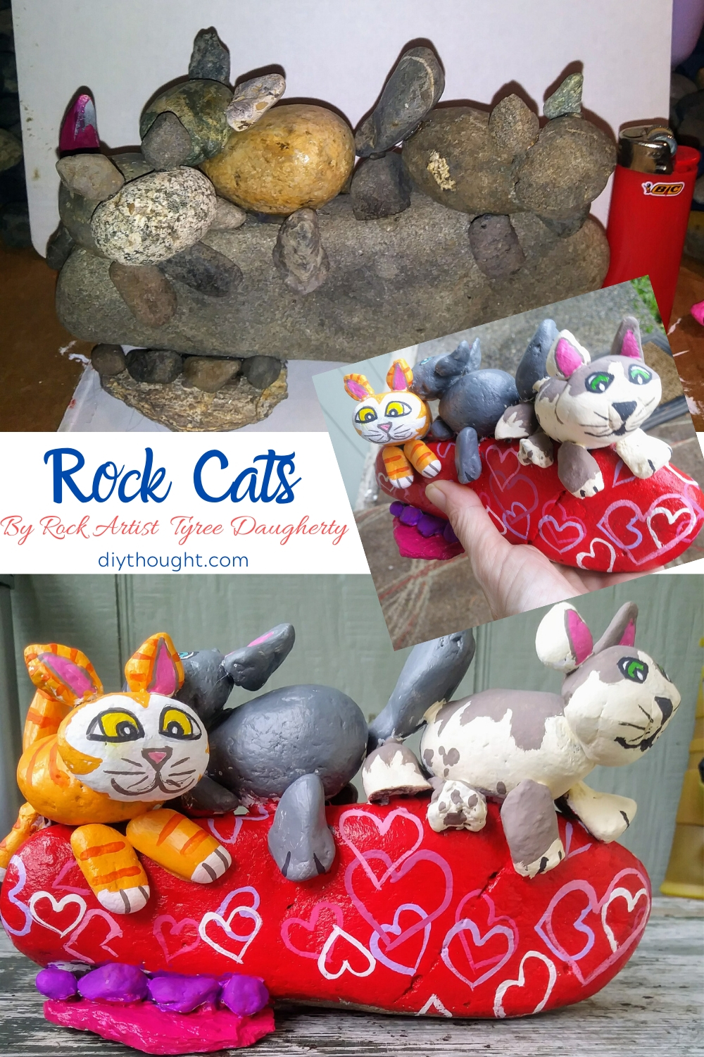 painted rocks cats
