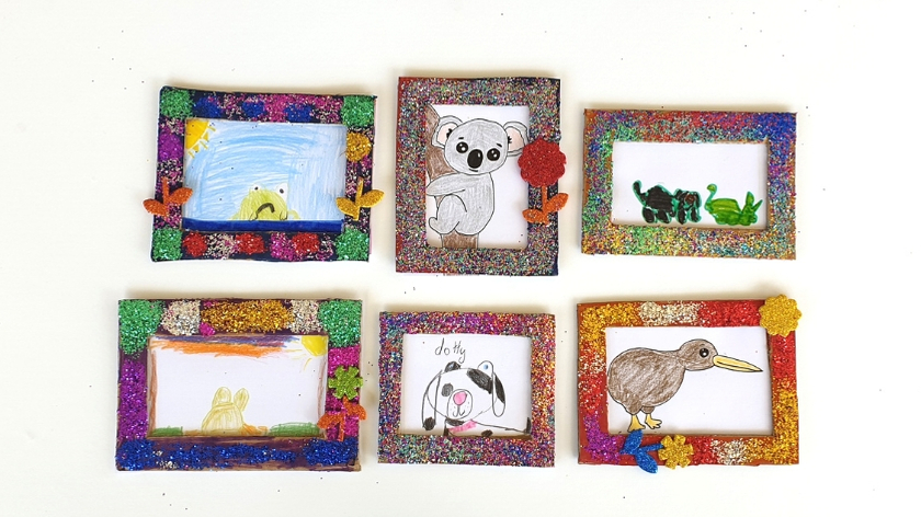 recycled glitter frames