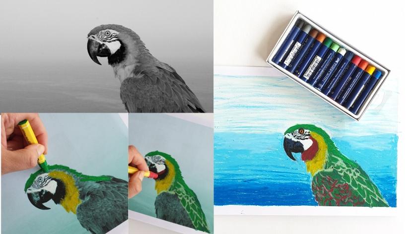 pastel photo bird art