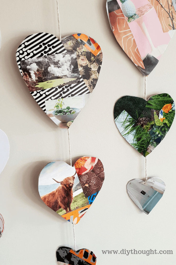 magazine hanging heart craft