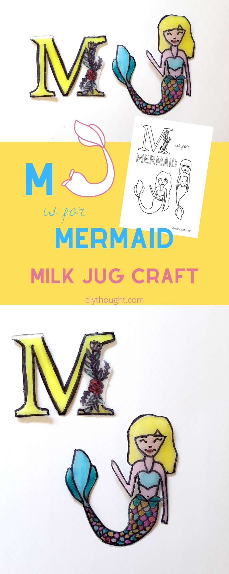 mermaid milk jug craft
