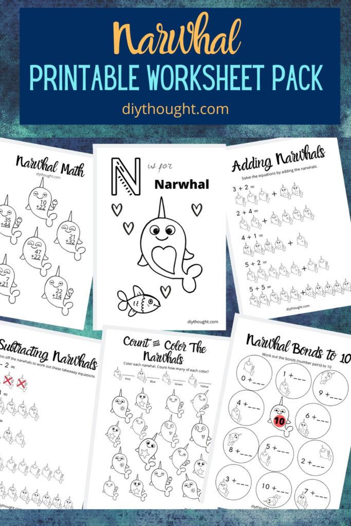 narwhal color & math worksheets