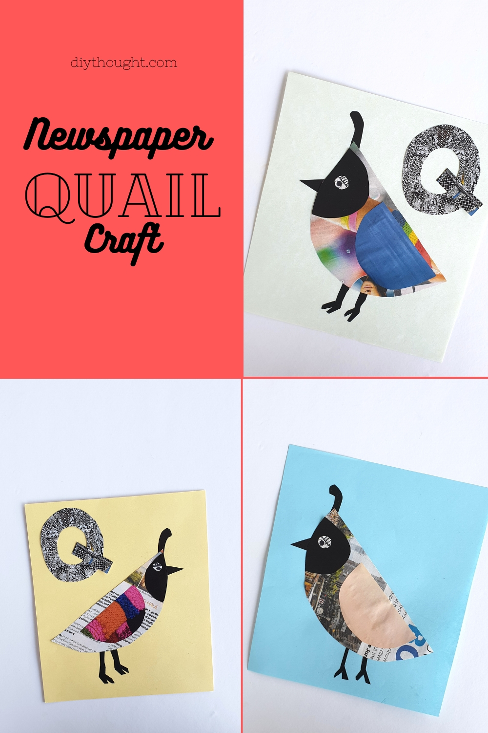 Newspaper quail craft