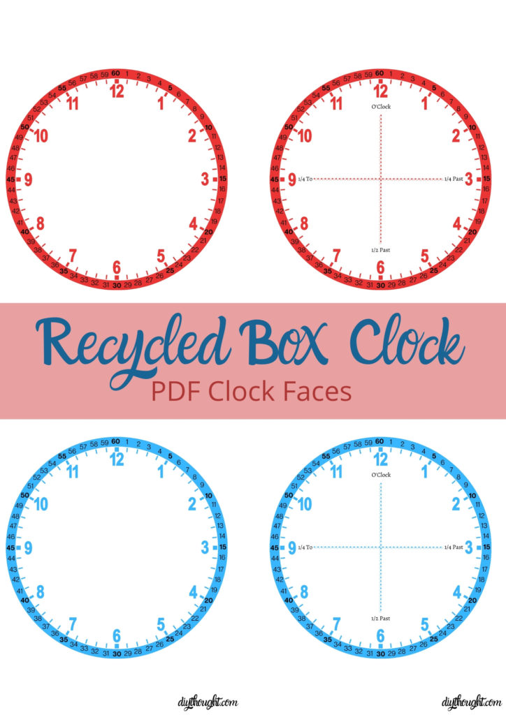 Recycled box clock. PDF clock faces/