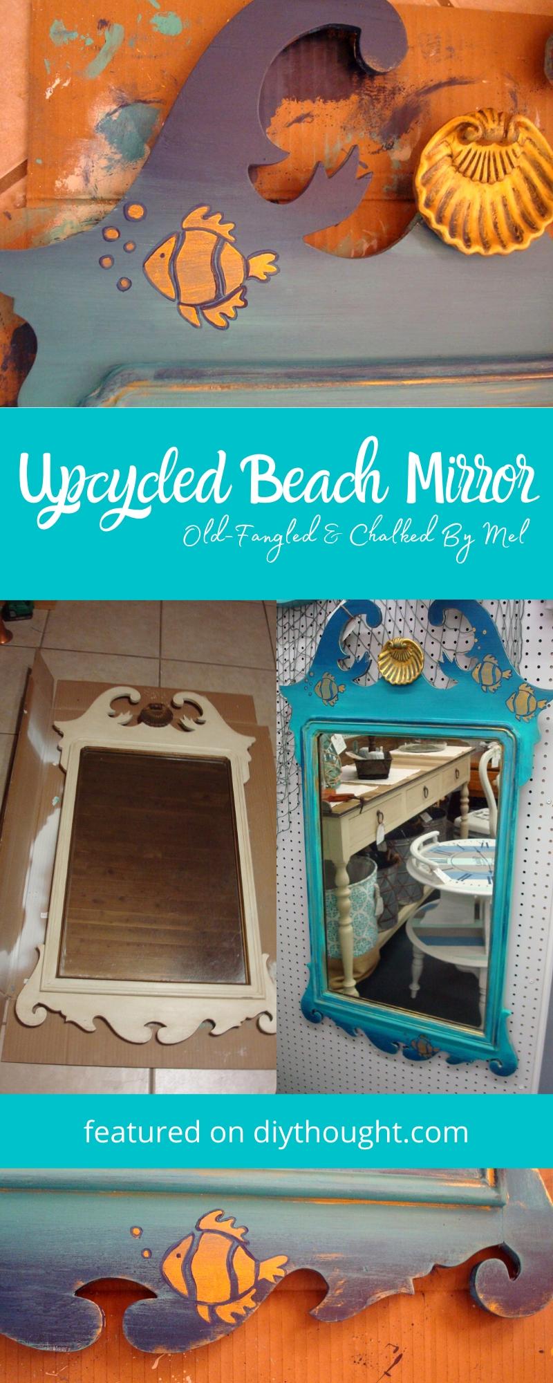 upcycled beach mirror DIY