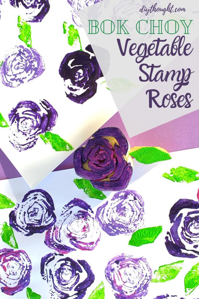 bok choy vegetable stamp roses