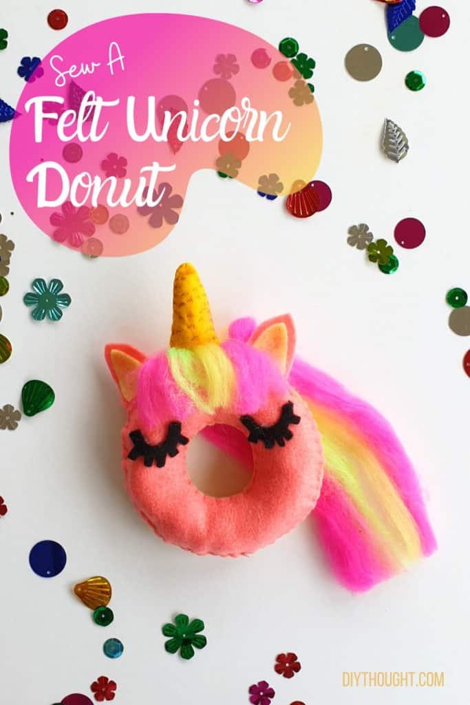 sew a felt unicorn donut