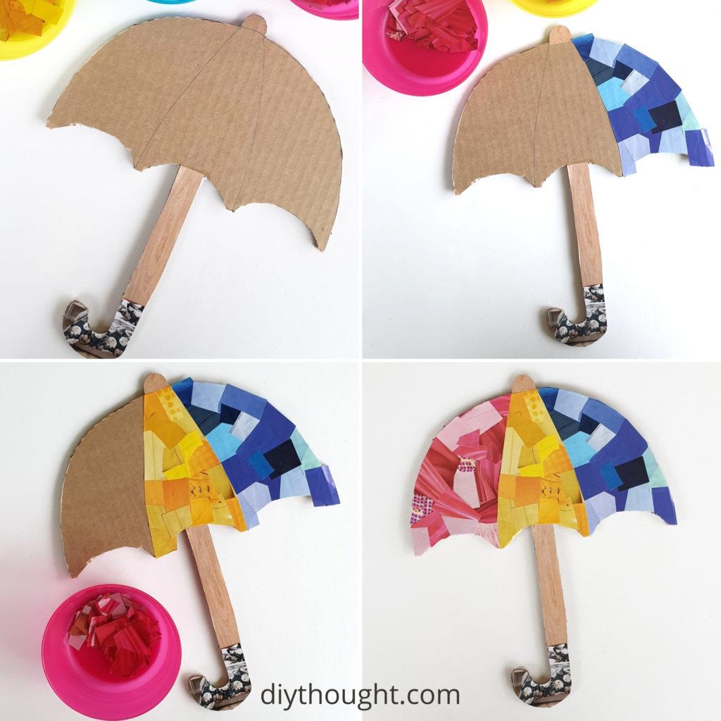 umbrella collage kids craft