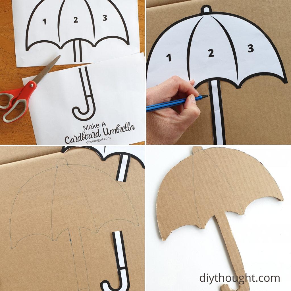 how to make a cardboard umbrella