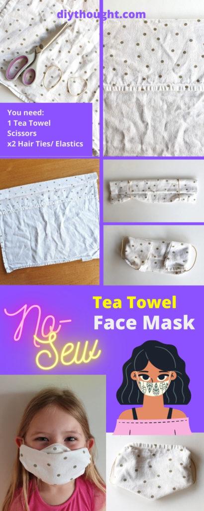 no-sew tea towel face mask tutorial