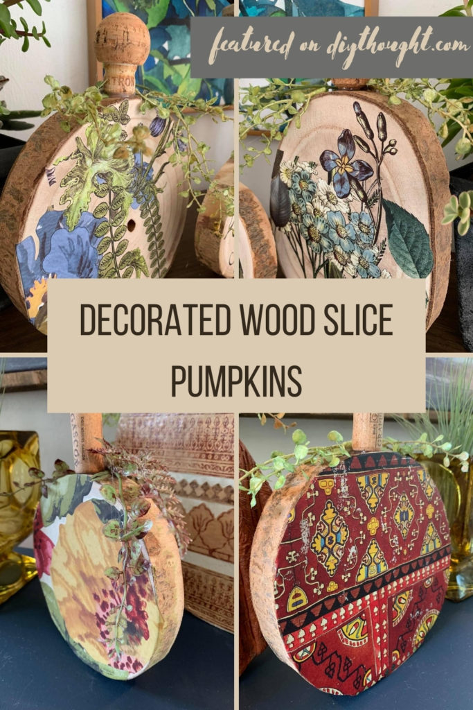 decorated wood slice pumpkins
