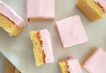 marshmallow strawberry jam slice