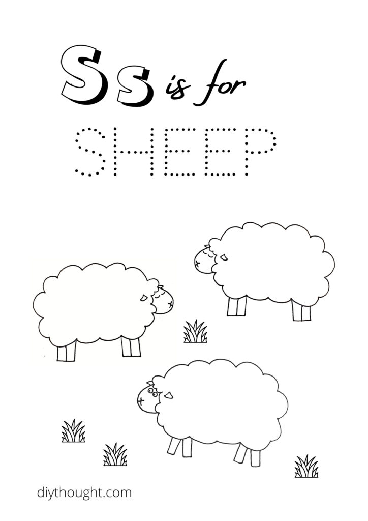 s is for sheep coloring printable