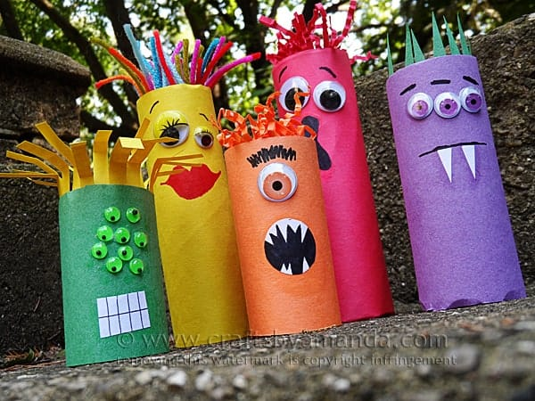 cardboard tube ghoul family craft