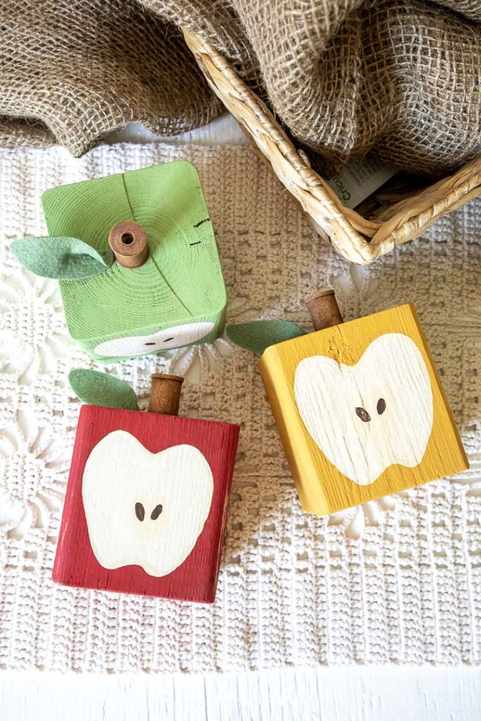 wood block apples