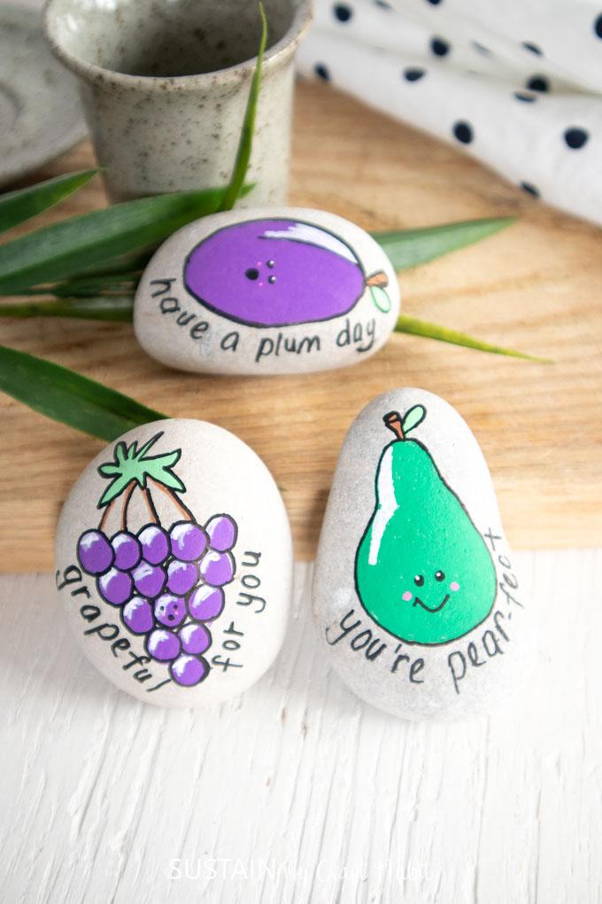 fruit painted kindness rocks