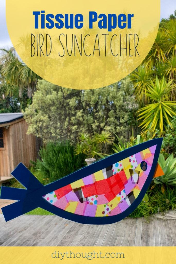 tissue paper bird suncatcher