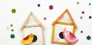 popsicle stick birdhouse craft