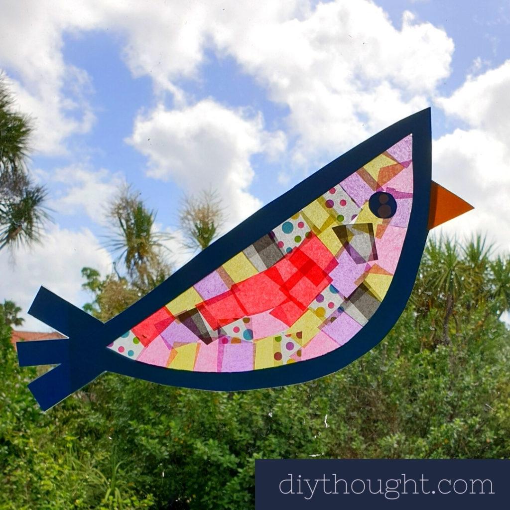 tissue paper suncatcher bird