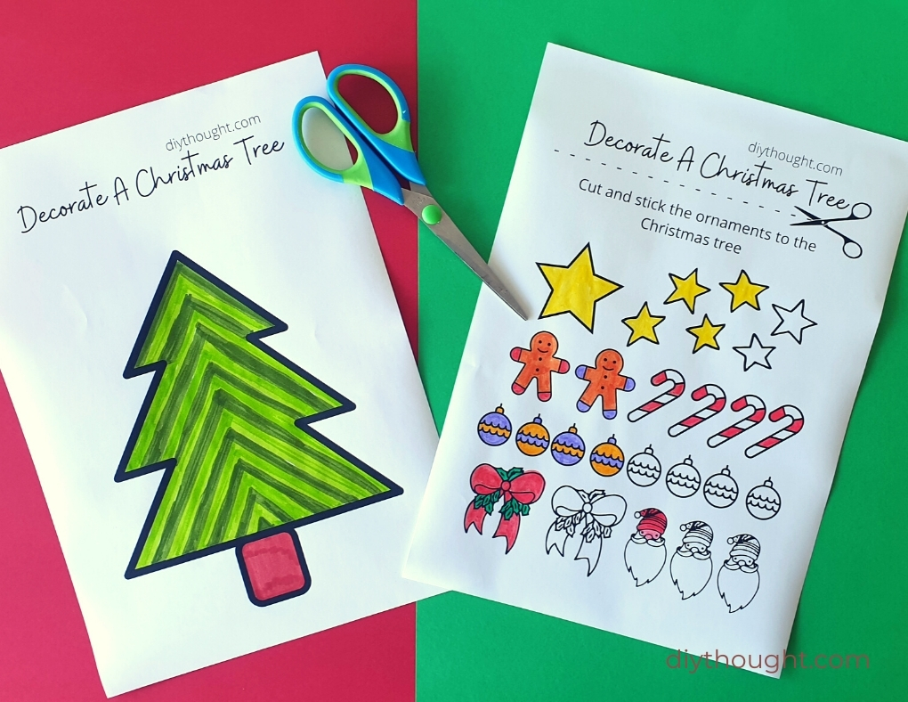 Decorate a Christmas tree printable activity