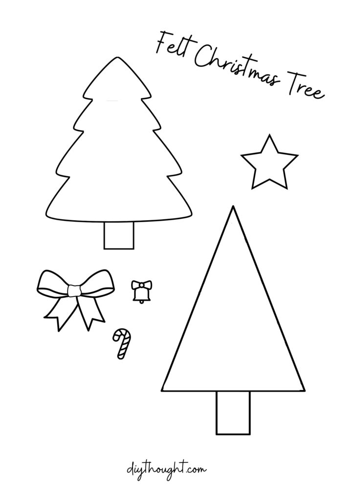 Felt Christmas Trees printable pattern