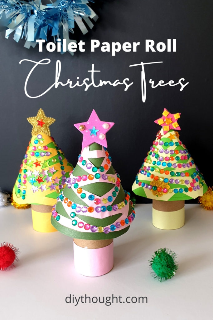 Toilet paper roll christmas trees