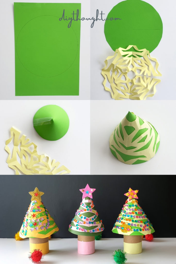 how to make toilet paper roll christmas trees