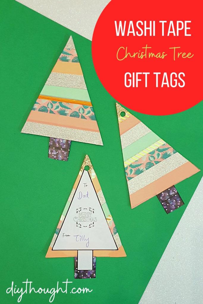 washi tape Christmas tree gift tags