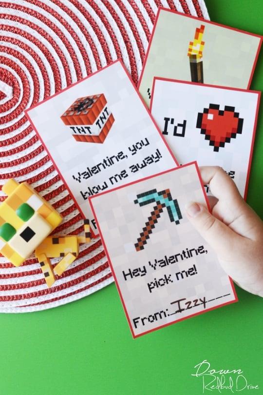 minecraft valentine's day cards
