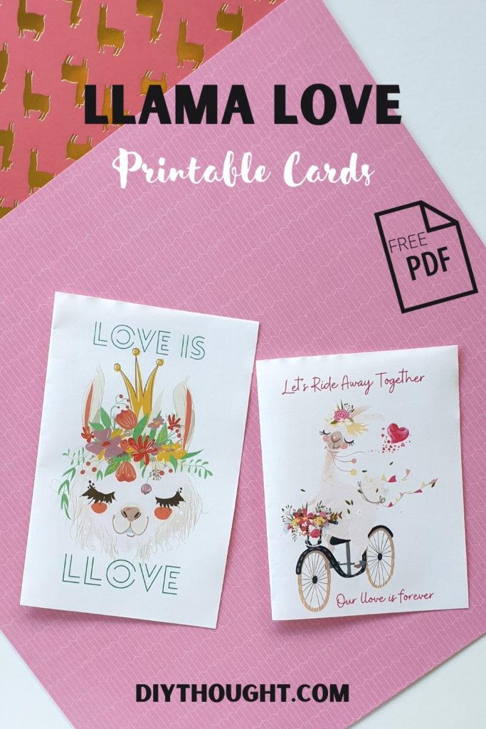 Free printable Valentine's Day llama card