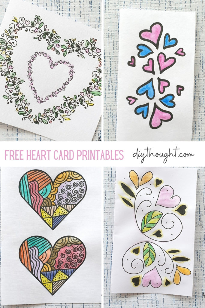 color it in heart card printable