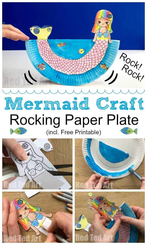 mermaid paper plate craft