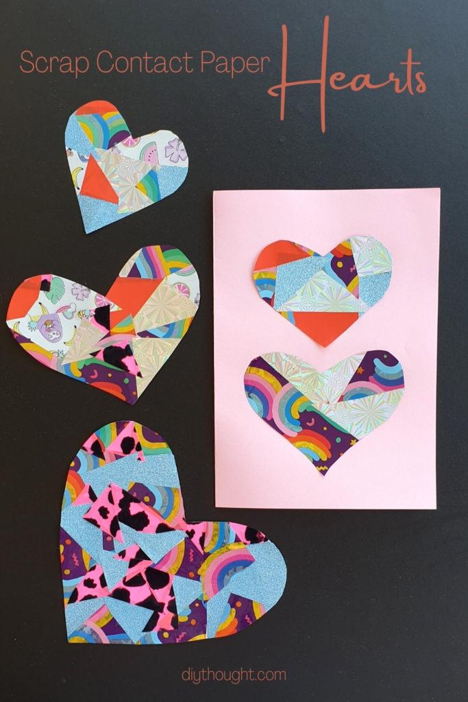 scrap contact paper heart craft