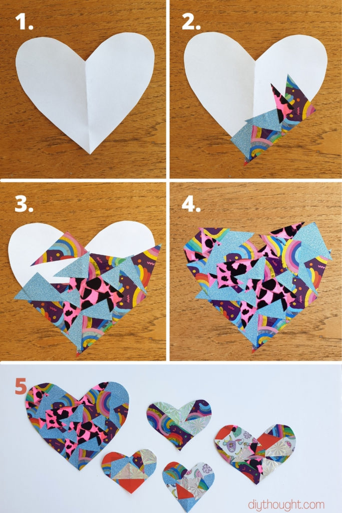 how to make a scrap contact paper heart craft