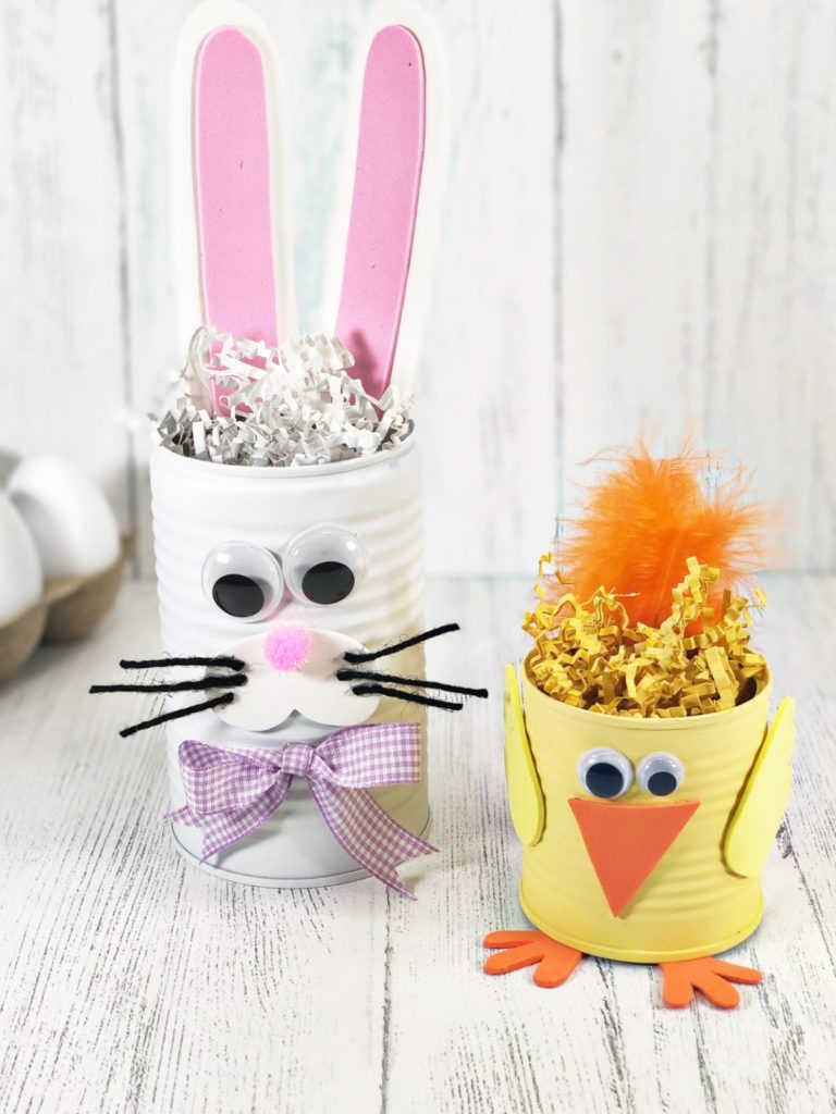 16 Kids Bunny Rabbit Easter Crafts- tin can