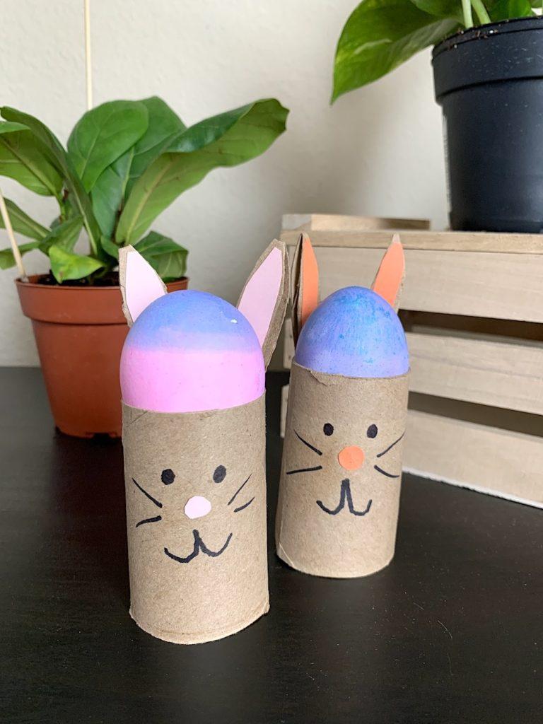 16 Kids Bunny Rabbit Easter Crafts- cardboard roll