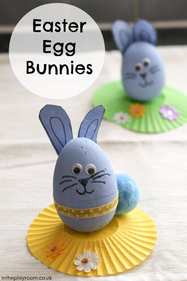 16 Kids Bunny Rabbit Easter Crafts- egg bunnies