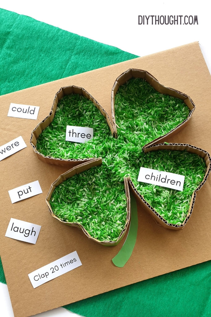 sensory clover sight word activity