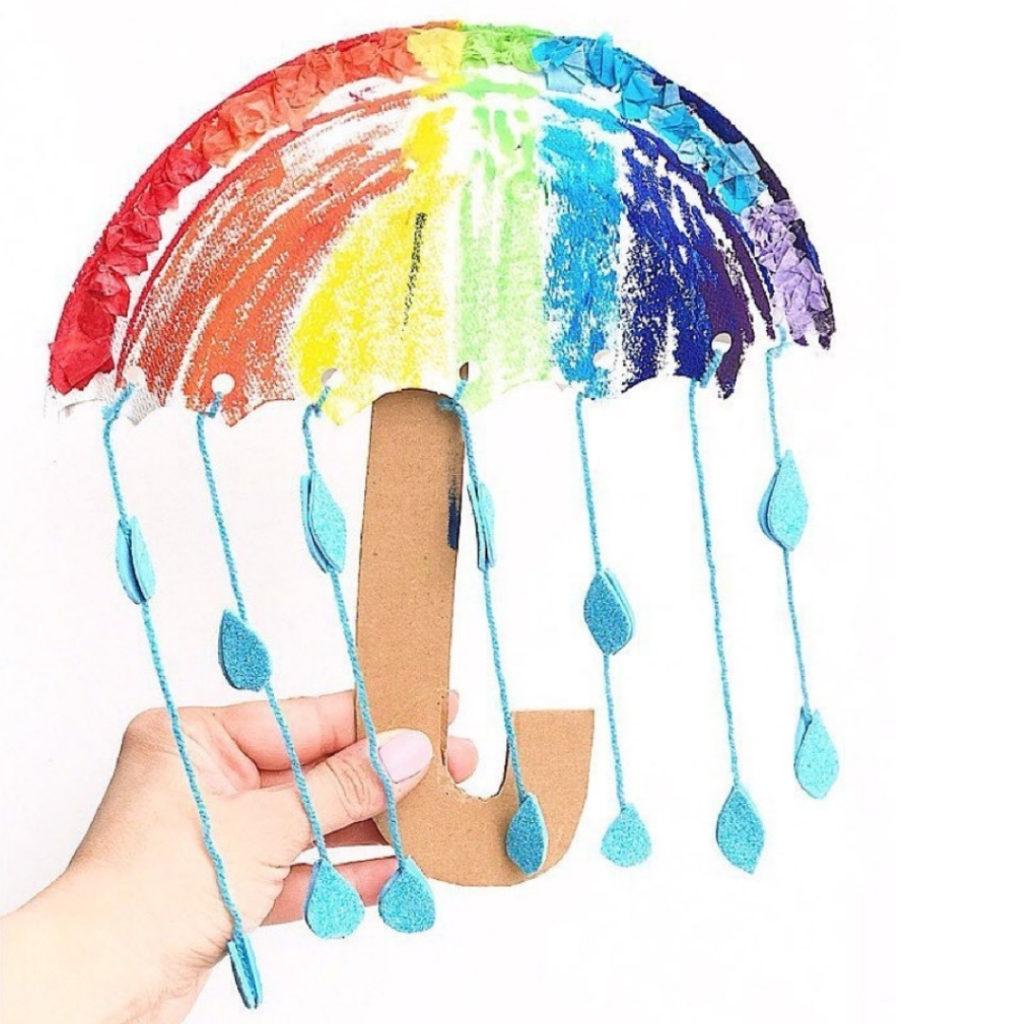 5 Fun Umbrella Crafts- paper plate umbrella
