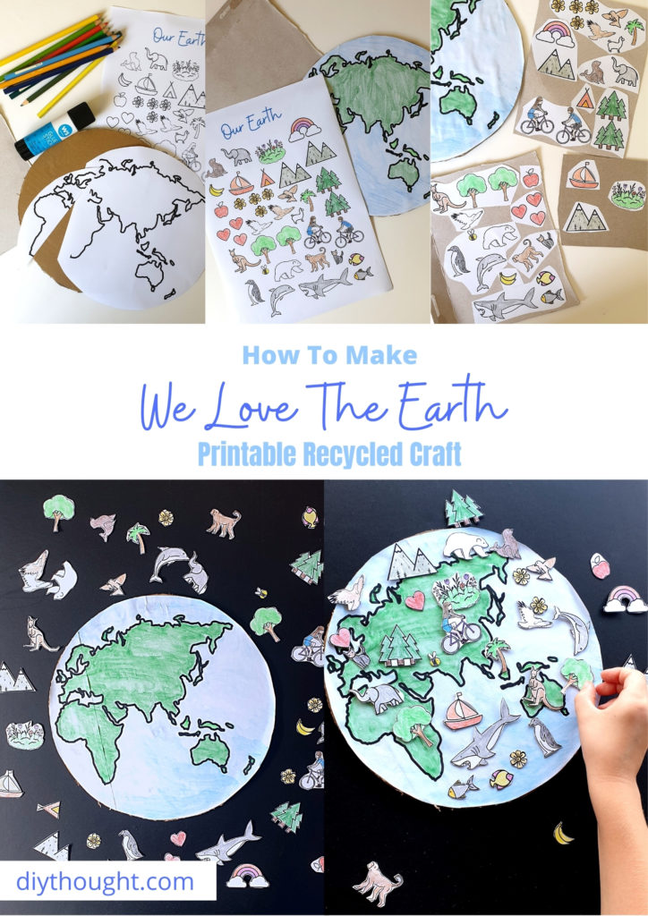 how to make We Love The Earth Printable Recycled Craft
