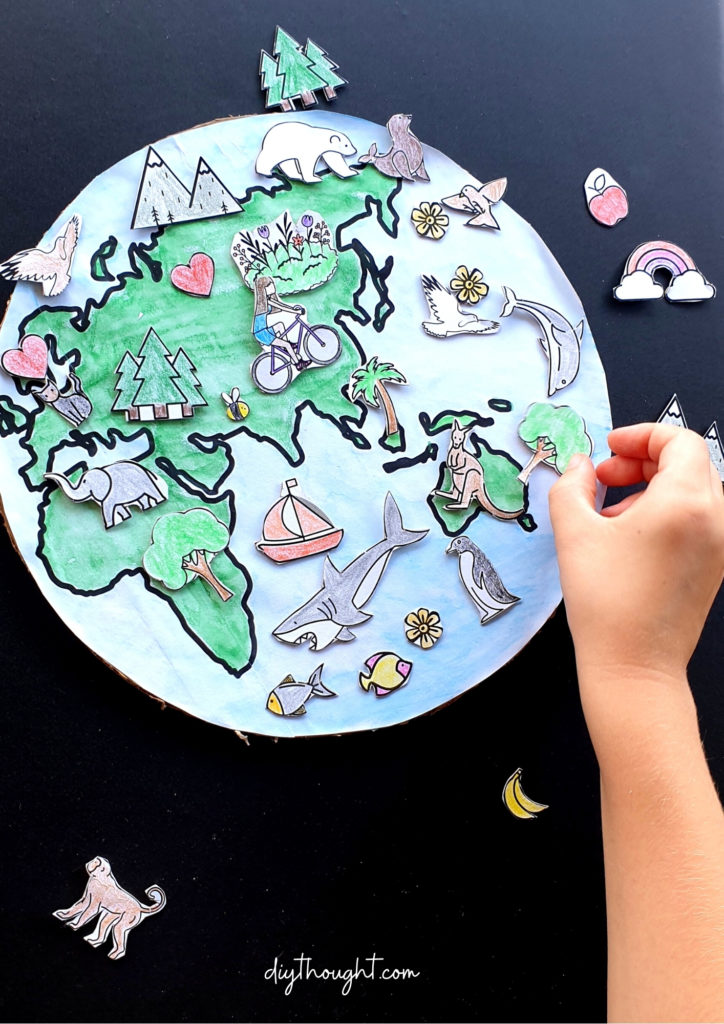 We Love The Earth Printable Recycled Craft