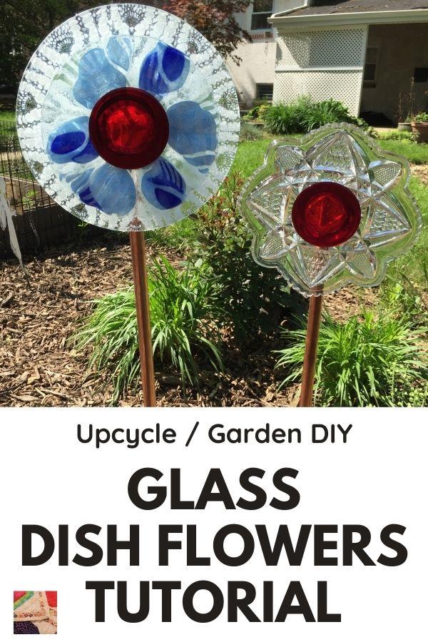 DIY glass dish flowers