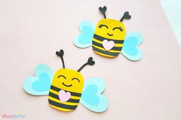 Paper heart bee