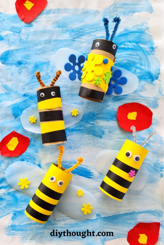 Toilet roll craft bee