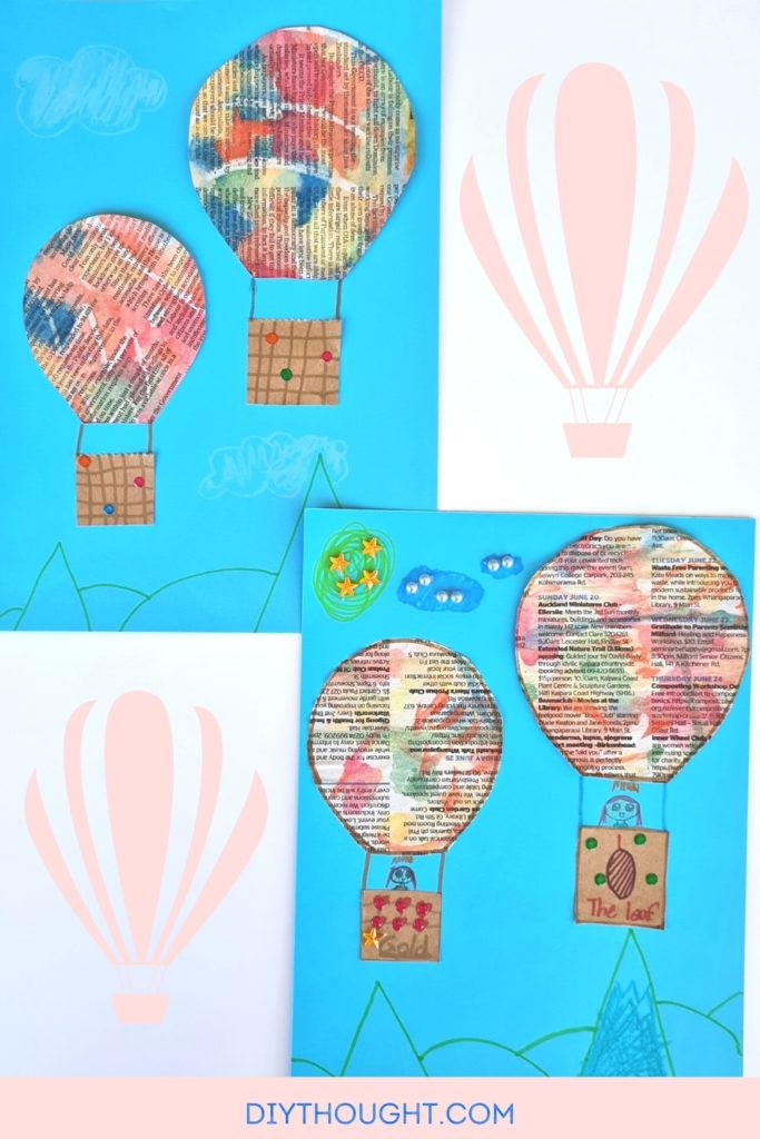Newspaper Hot Air Balloon Kids Art