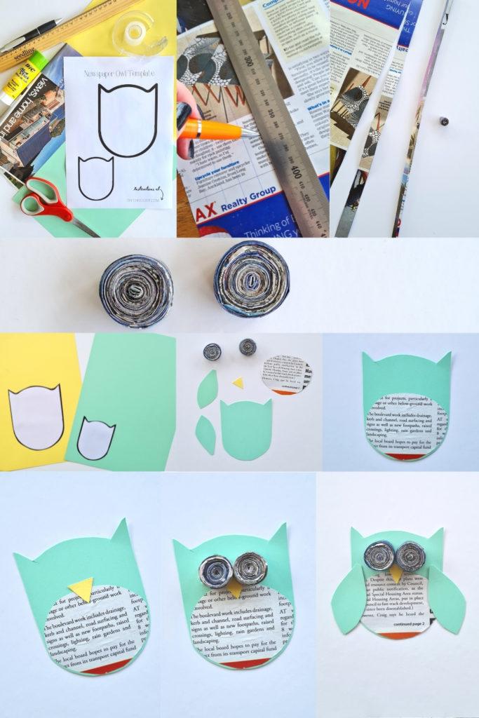 how to make newspaper owls